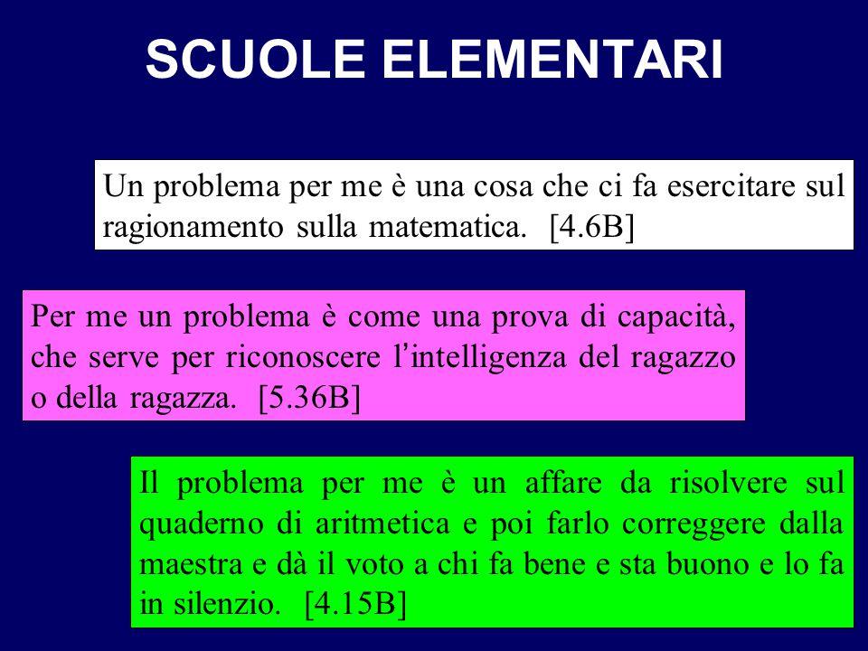 SCUOLE ELEMENTARI Un problema per me è una cosa che ci fa esercitare sul ragionamento sulla matematica. [4.6B]